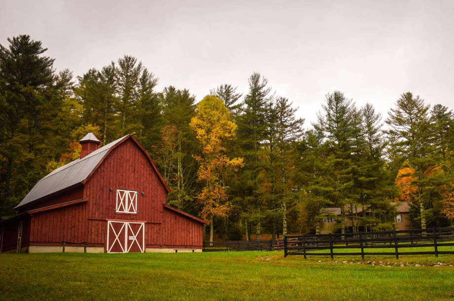 View of red barn and trees | Farm Insurance